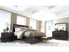 Modena Panel w/Storage Bed Dark Wood Bedroom, Wood Bedroom Sets, Home Bedroom, Bedroom Decor, Master Bedroom, Master Suite, Bedroom Ideas, Bedrooms, Furniture Outlet
