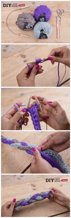 Una fascia per capelli intrecciata in lana da realizzare ai ferri o usando il #tricotin. Un accessorio #knit imperdibile!