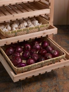 Bamboo Trays | Buy from Gardener's Supply  for storing garlic and other small items in the Orchard Rack.