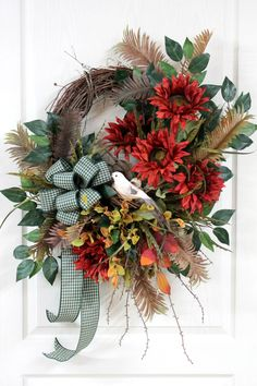 Large Country Wreath for Front Door Country by FloralsFromHome