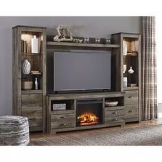 "Trinell Large Entertainment Center Wall Unit - TV Stand 63"" with Bridge and 2 Bookcase Piers"