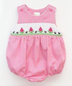 Look at this #zulilyfind! Pink Gingham Watermelon Smocked Bubble Bodysuit - Infant by Smocked Giraffe #zulilyfinds