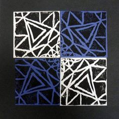 5th Grade rotational printmaking project. Created by using recycled styrofoam, pencils, and styluses. She went very geometric with her design, which I like!  Artsonia Art Museum :: Artwork by Caelan104