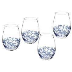 Spode 19 oz. Stemless Wine Glass & Reviews | Wayfair I love these but they are 15.50/stem and they aren't even stems! Found at Macy's for $30 for 4. They are hand wash only. Argh! Blue Dinnerware, Wine Glass Set, Stemless Wine Glasses, Drinking Glass, Dining, Italian Pattern, Classic Italian, Kitchen Shop, Kitchen Ware