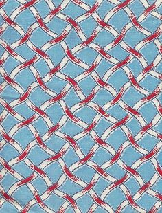 red : blue : woven grid : check : Vintage Fabric