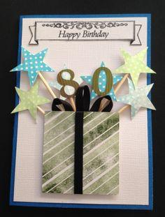 80th Birthday 65th Birthday Cards, 80th Birthday Invitations, Birthday Cards For Boys, Masculine Birthday Cards, Handmade Birthday Cards, Greeting Cards Handmade, Cumpleaños Diy, Birthday Ideas For Her, Exploding Box Card
