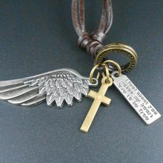 Antique Vintage Angel Wing Men Leather Necklace Male Charms Pendants Friendship Jewelry Accessories