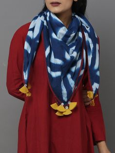 Blue Cotton Clamp Dyed Stole