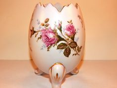 Rose Vase Footed Pink Floral Porcelain Egg Vintage Napco Moriage Gilded Transferware Mid-Century Collectible Home Decor