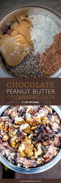These vegan chocolate peanut butter overnight oats taste like dessert for breakfast. Best Dessert Recipes, Delicious Vegan Recipes, Raw Food Recipes, Delicious Desserts, Vegan Meals, Vegan Desserts, Healthy Meals, Yummy Food, Chocolate Peanuts