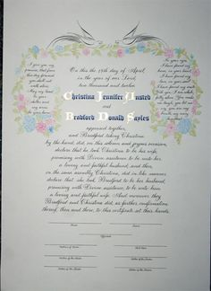 Calligraphy marriage certificate with wedding vows Custom design hand painted and hand written