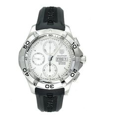 TAG Heuer Men's Aquaracer Automatic Chronograph Rubber Strap Watch from TAG Heuer @ TAG-Heuer-Watches . Sport Watches, Watches For Men, Rolex, Best Sports Watch, Unusual Watches, Swiss Luxury Watches, Running Watch, Luxury Watch Brands, Black Rubber