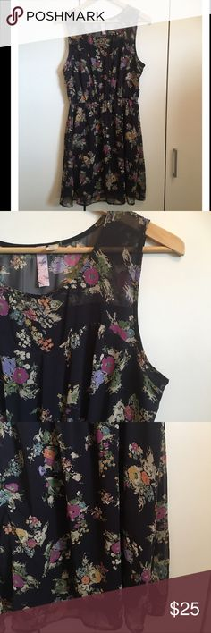 """Alta Dark Grey Floral Skater Dress. Alta Dark Grey Floral Skater Dress. Excellent condition! Elastic waist. A-line. Fully lined polyester. Soft and flowy. Would look great with a long slouchy cardigan and some ankle boots for the fall. Bust 38"""", waist 26""""-38"""", length 35.5"""" Alya Dresses Midi"""