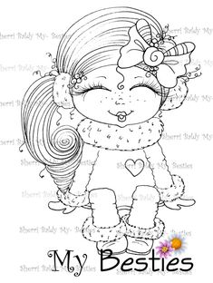 Adult Coloring Book Pages, Printable Adult Coloring Pages, Colouring Pics, Coloring Books, Doll Drawing, Creation Art, Drawing Templates, Fairytale Art, Embroidery Transfers