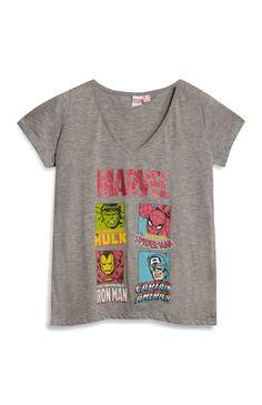Grey V-Neck Marvel T-Shirt