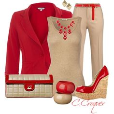 All Nude & Red, created by ccroquer on Polyvore