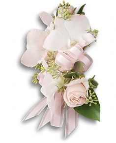 Beautiful Blush Corsage Flowers Blush dendrobium orchid with pink rose