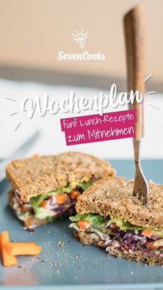 Through the week with SevenCooks: 5 lunch recipes to take away .-Durch die Woche mit SevenCooks: 5 Lunch-Rezepte zum Mitnehmen These 5 lunch dishes are perfect to take away! So you can enjoy your lunch break healthy and balanced! Lunch Snacks, Vegan Snacks, Lunch Recipes, Seafood Recipes, Healthy Recipes, Chicken Recipes, Sandwich Vegan, Croissant Sandwich, Sandwiches For Lunch