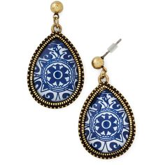 Delft of Possibilities Earrings by ModCloth ($9.99) ❤ liked on Polyvore featuring jewelry, earrings, accessories, blue, boho earrings, boho style jewelry, bohemian jewelry, boho jewelry and bohemian earrings
