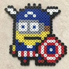 Captain America Minion hama beads by cloverbeads