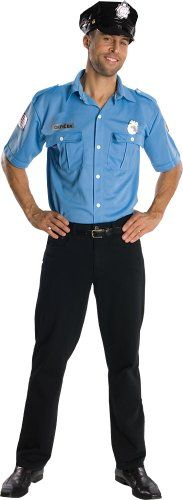 Rubie's Costume Heroes And Hombres Adult Police Officer Shirt And Hat, Blue, Standard, Look out, it's the law. Be a perfect ten while you play the 5-0 with this classic cop outfit from rubies. Easy to wear because you wear with your own comfortable pants. A world-leader in the creation ..., #Apparel, #Men
