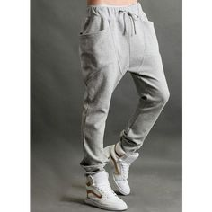 Fresh Style Men Solid Pockets Drawstring Harem Pants ❤ liked on Polyvore featuring men's fashion, men's clothing, pajamas, men's apparel and mens clothing