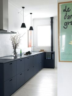 Modern Kitchen Interior Stylish and delicious soft blue linoleum kitchen from Kitchen Renovation, Luxury Kitchen, Kitchen Decor, Kitchen Remodel, Kitchen Design Small, Home Kitchens, Kitchen Design Decor, Minimalist Kitchen, Kitchen Interior