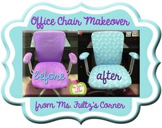 Office makeover: recovering an old desk chair tutorial from Ms. Fultz's Corner