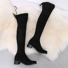 Cizme peste genunchi din piele elastica , cu toc de 4.5 cm. Elegante si finute. Knee Boots, Shoes, Fashion, Moda, Zapatos, Shoes Outlet, Fashion Styles, Knee Boot, Shoe