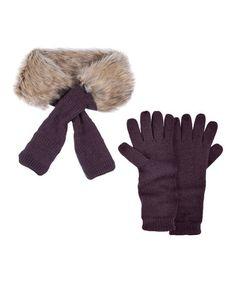 Another great find on #zulily! Eggplant Fur Neck Wrap & Texting Gloves - Women #zulilyfinds