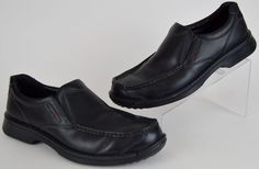 men's ECCO Light Fusion solid black slip on pinch toe loafer 12-12.5 47 used #ECCO #LoafersSlipOns