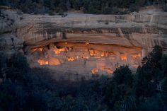 Cliff Palace  | 2005 Mesa Verde Illumination - Cliff House Ruin at Dusk  - Mesa Verde National Park