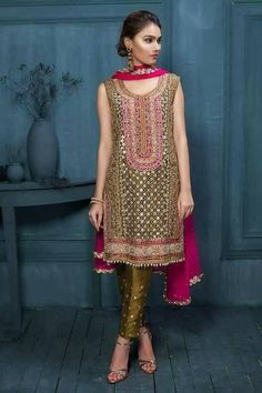Beutifull wedding party dress in green gold and shoking pink color Model# W 891