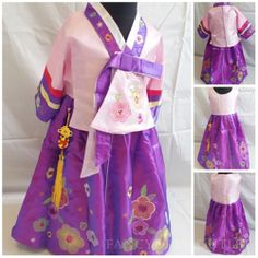 D102PU Korean Traditional Hanbok Floral Purple Pink Girls Dress Costume 6-7/#10