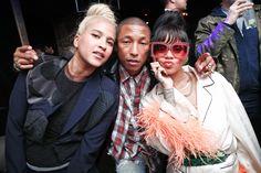 Helen Lasichanh, Pharrell Williams in Comme des Garçons, and Rihanna in Prada
