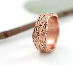 Redwoods - 14k Rose Gold Tree Bark Wedding Ring - Narrow - made to order in recycled metal - ecofriendly - nature inspired on Etsy, $984.47 CAD