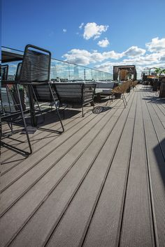 All UPM ProFi decking boards have a stain resistant surface. Decking Boards, Composite Decking, Railroad Tracks, Restaurants, Hotels, Commercial, Public, Surface, Outdoor