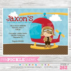Helicopter Pilot Personalized Party Invitation-personalized invitation, photo card, photo invitation, digital, party invitation, birthday, shower, announcement, printable, print, diy,Helicopter Pilot Personalized Party Invitation, fly, flying
