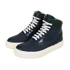 Me.Land sneakers. Blue and green mat, smooth and patent calfskin high top sneaker, white ultralight rubber sole.