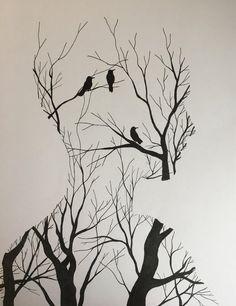 Dark Art Drawings, Art Drawings Sketches Simple, Pencil Art Drawings, Cool Drawings, Line Drawing Art, Amazing Drawings, Sketch Drawing, Tattoo Sketches, Tattoo Drawings
