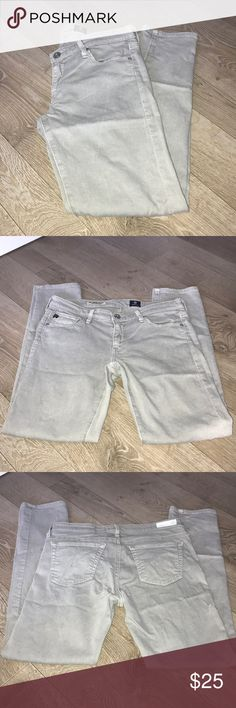 """AG Adriano Goldschmied Jeans EUC The Stevie Ankle - Slim Straight Leg SUPER SOFT!! 😍  Light Grey  Re-Poshing as they fit, but are a little too snug for my liking.  Priced below my purchase price. 🤷🏻♀️  Measurements (lying flat): Waist 14 1/2"""" Hips 16 1/2"""" Rise 7 1/3"""" Inseam 27"""" Ag Adriano Goldschmied Jeans Ankle & Cropped"""