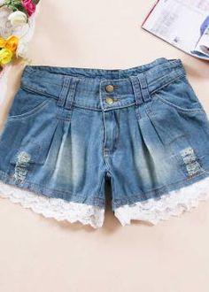 Denim Shorts with Cute Lace Hem  US$10.00