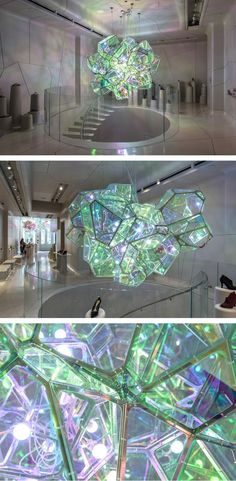 "Design studio SOFTlab, have created ""Crystalized,"" a sculpture that hangs in a New York City shoe boutique. Instalation Art, Licht Box, Wow Art, Design Studio, Light Art, Public Art, Lighting Design, Sculpture Art, Stained Glass"