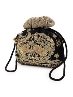 Peacock Black Zari Potli Bag Classy and attractive, this potli bag from Veena Soni will be a pretty inclusion in your accessory collection. - Featuring beautiful work, this bag has an excellent finish and is light in weight. It is ideal for festive attire.