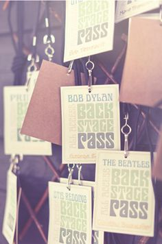 backstage pass escort cards for a festival-themed #wedding // photo by tiffanyarment.com