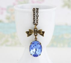 Blue Jewelry, Sapphire Blue Jewel Necklace With Brass Bow on a Brass Chain - Simple and Lovely, Free Shipping