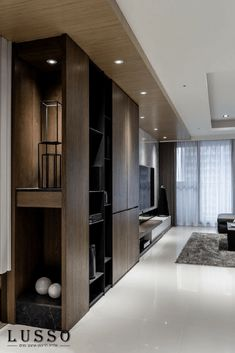Lin residence on BehanceExample - End unit to opening / access into Pool Table Area.End of bookcase is display cabinet Modern Interior, Home Interior Design, Interior Architecture, Bar Design, House Design, Muebles Living, Living Room Tv, Cabinet Design, Luxury Apartments