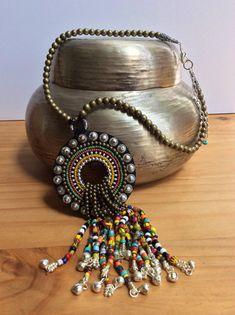Collar con cuentas de comercio africanos, Boho collar, collar Tribal