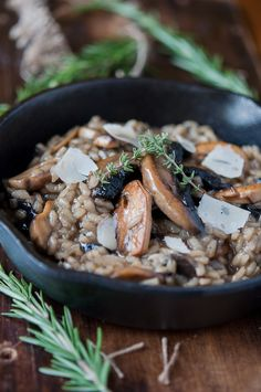 Beer and mushroom risotto