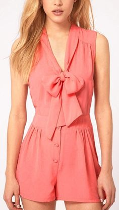 This is sooo cute!! Perfect for a day on the water! Pink Bowknot V-neck Sleeveless Chiffon Jumpsuit